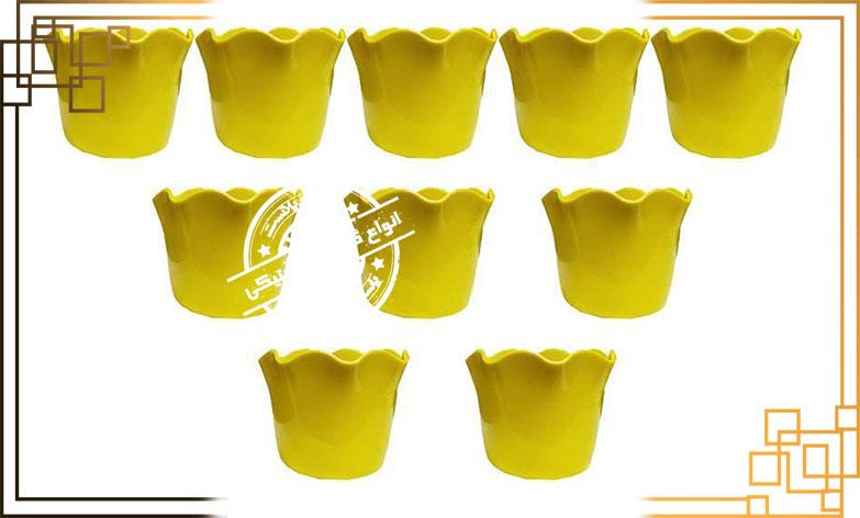 گلدان پلاستیکی زرد